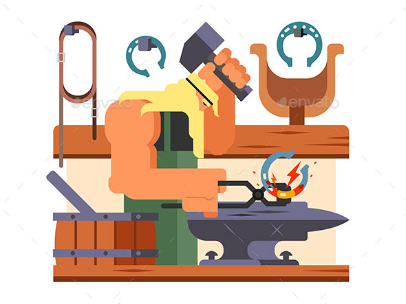 Blacksmith Character Cartoon - People Characters