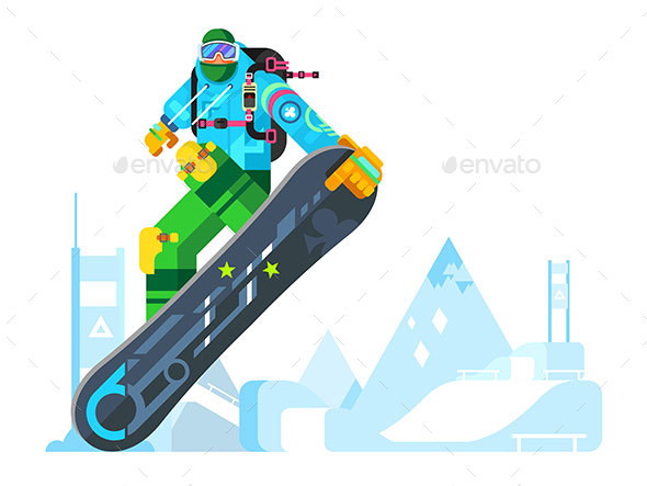 Snowboarder Cartoon Character - Sports/Activity Conceptual