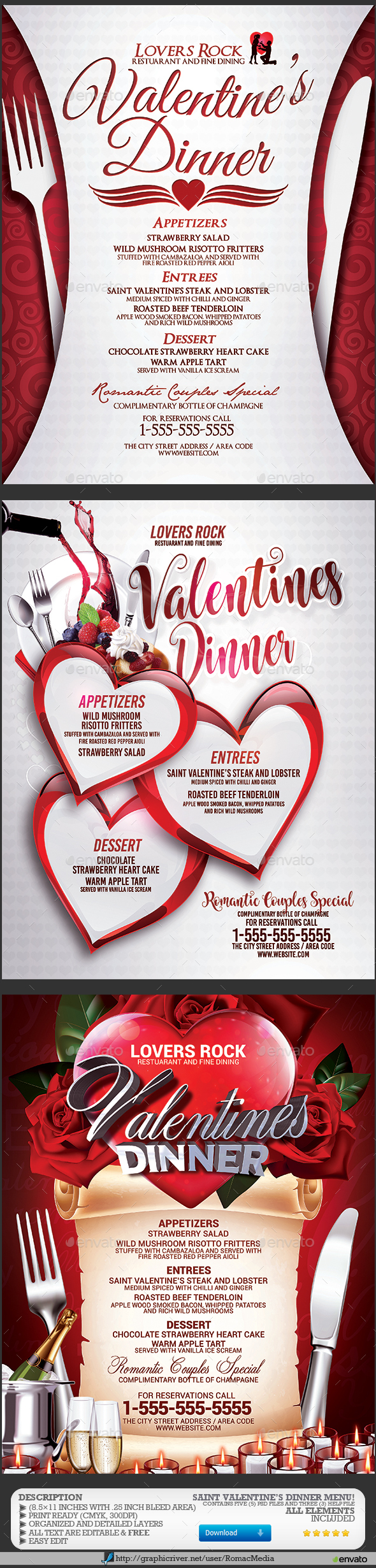 Valentines Dinner Menu Bundle - Events Flyers