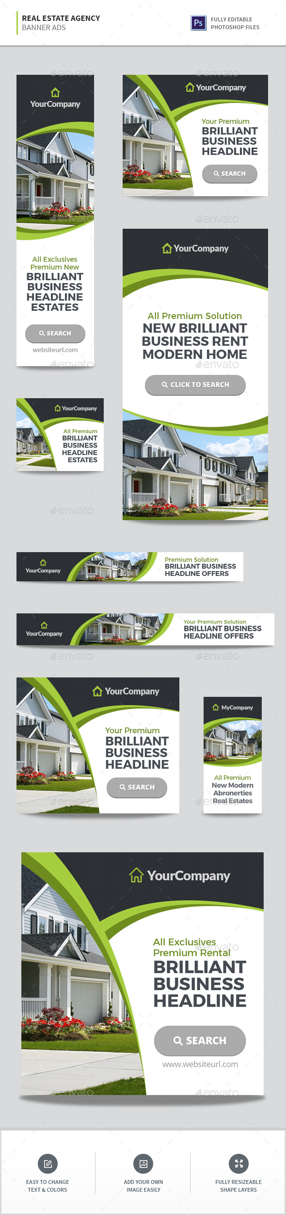 Real Estate Agency Banners - Banners & Ads Web Elements