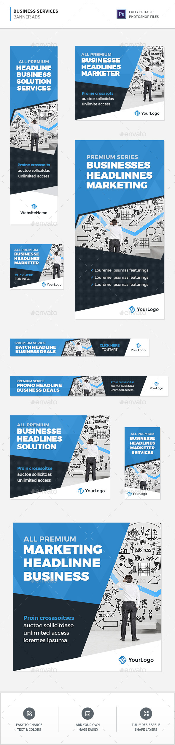 Business Services Banners - Banners & Ads Web Elements