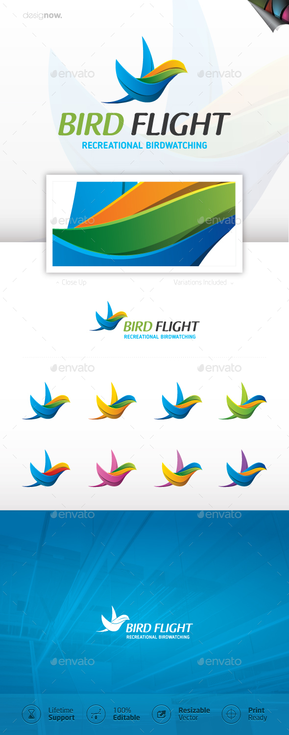 Bird Flight Logo - Animals Logo Templates