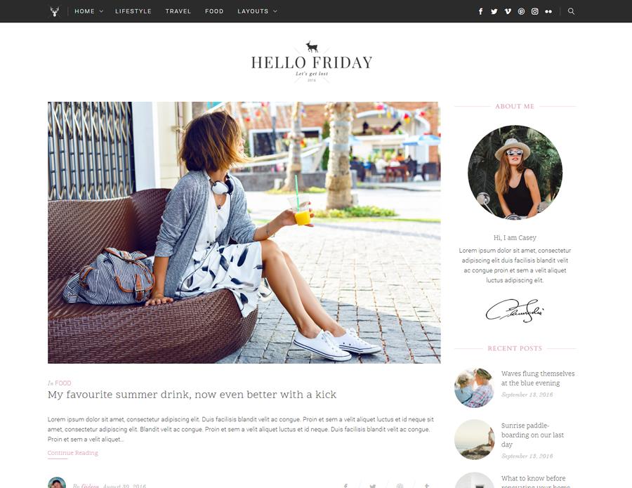 Hello Friday Elegant Lifestyle Blog Theme By Heroplugins Themeforest
