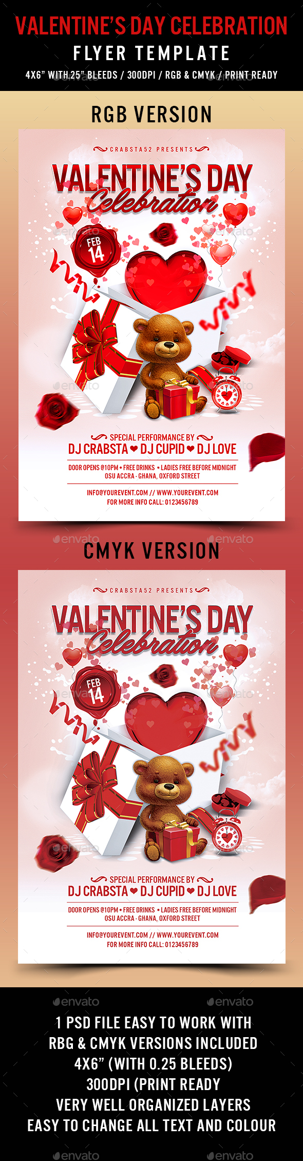 Valentine's Day Celebration Flyer Template - Events Flyers
