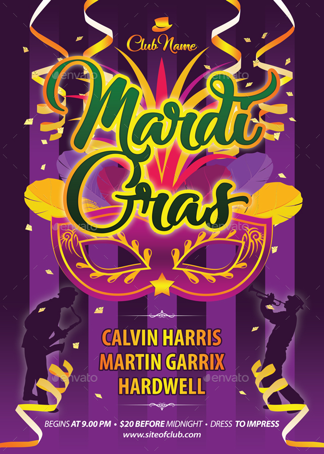 mardi gras festival flyer template 13421min | graphicriver, Powerpoint templates