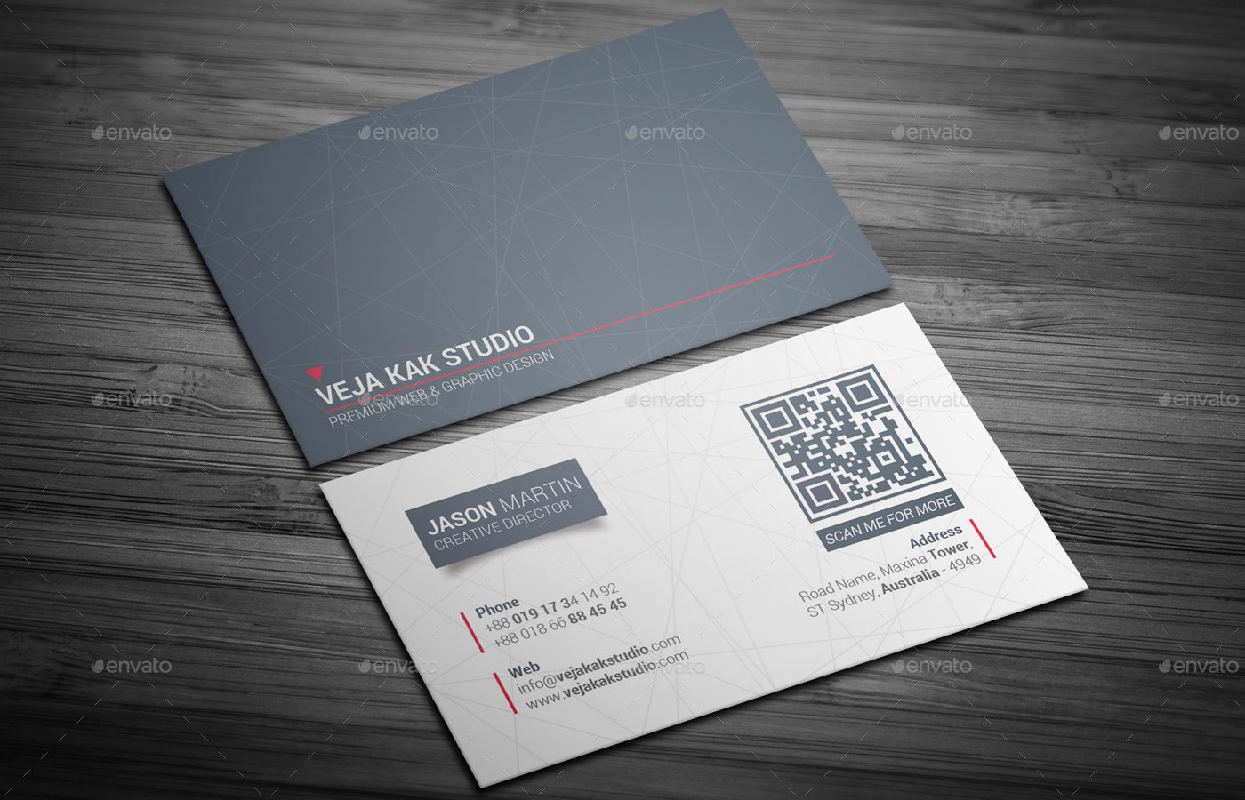 Sleek Minimal Business Card By Vejakakstudio GraphicRiver - Web design business cards templates