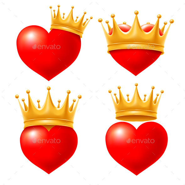 Hearts With Golden Crown - Valentines Seasons/Holidays