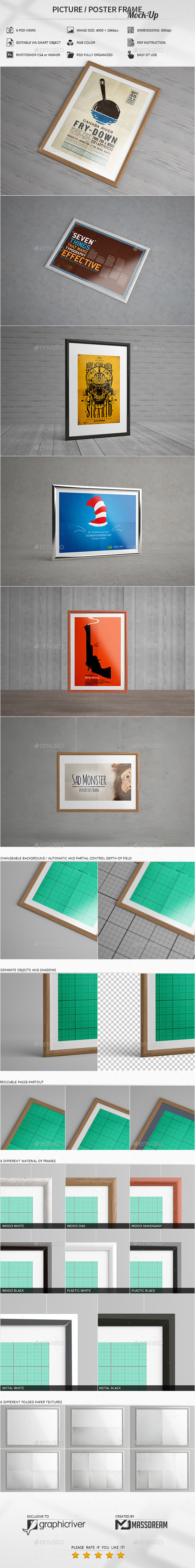Picture / Poster Frame Mock-Up - Print Product Mock-Ups