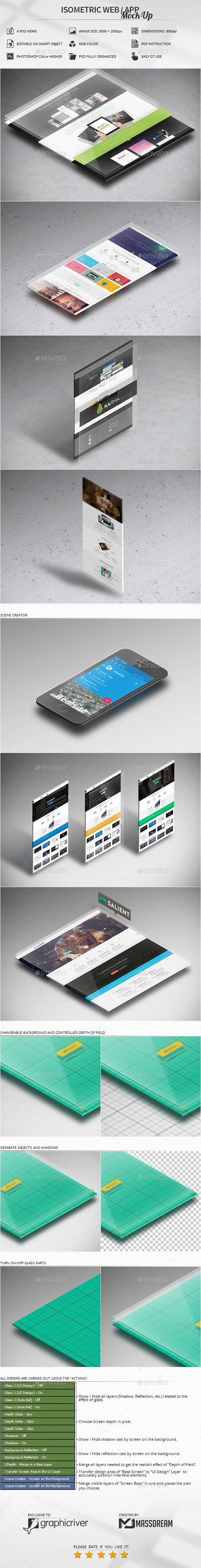Isometric Web / App Mock-Up - Print Product Mock-Ups