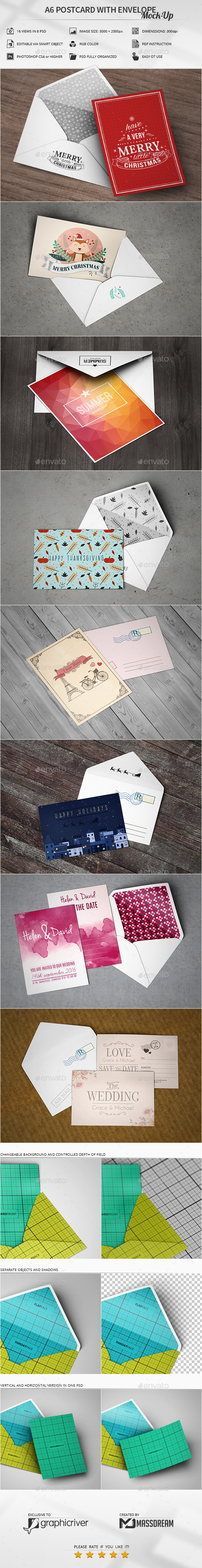 A6 Postcard with Envelope Mock-Up - Product Mock-Ups Graphics