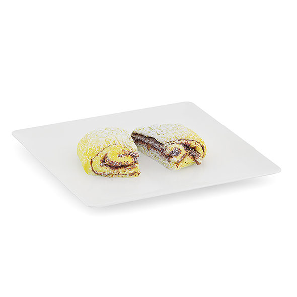Halved Sweet Bun on White Plate - 3DOcean Item for Sale