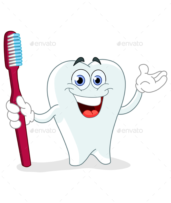 Cartoon Tooth with Toothbrush - Health/Medicine Conceptual