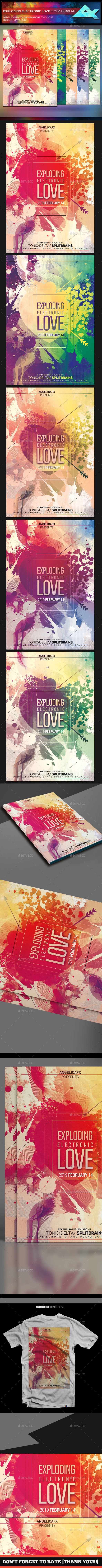 Exploding Electronic Love Flyer Template - Events Flyers