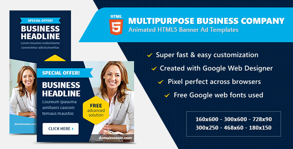 Multipurpose Business Company - HTML5 Banner Ads - CodeCanyon Item for Sale