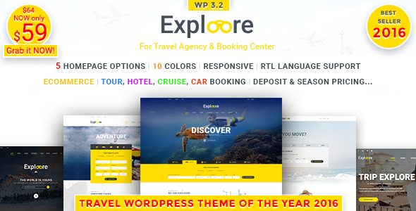 Travel WordPress Theme | EXPLOORE (Tour, Hotel, Car, Cruise, eCommerce)