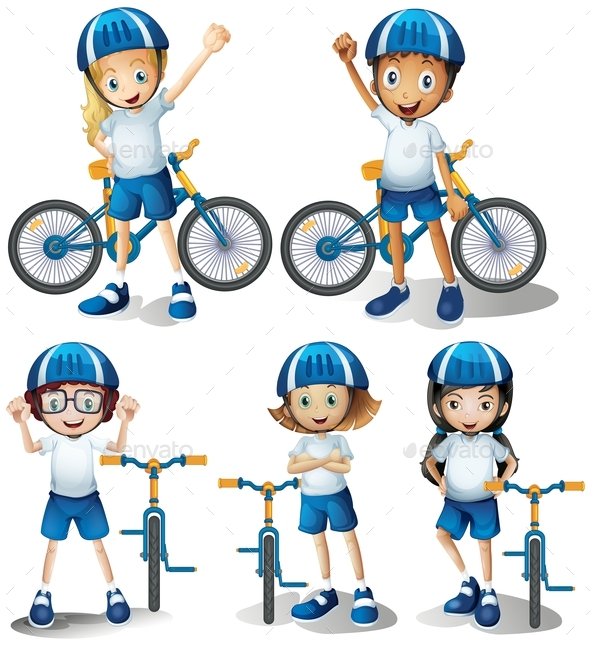 Boys and Girls Riding Bicycle - People Characters