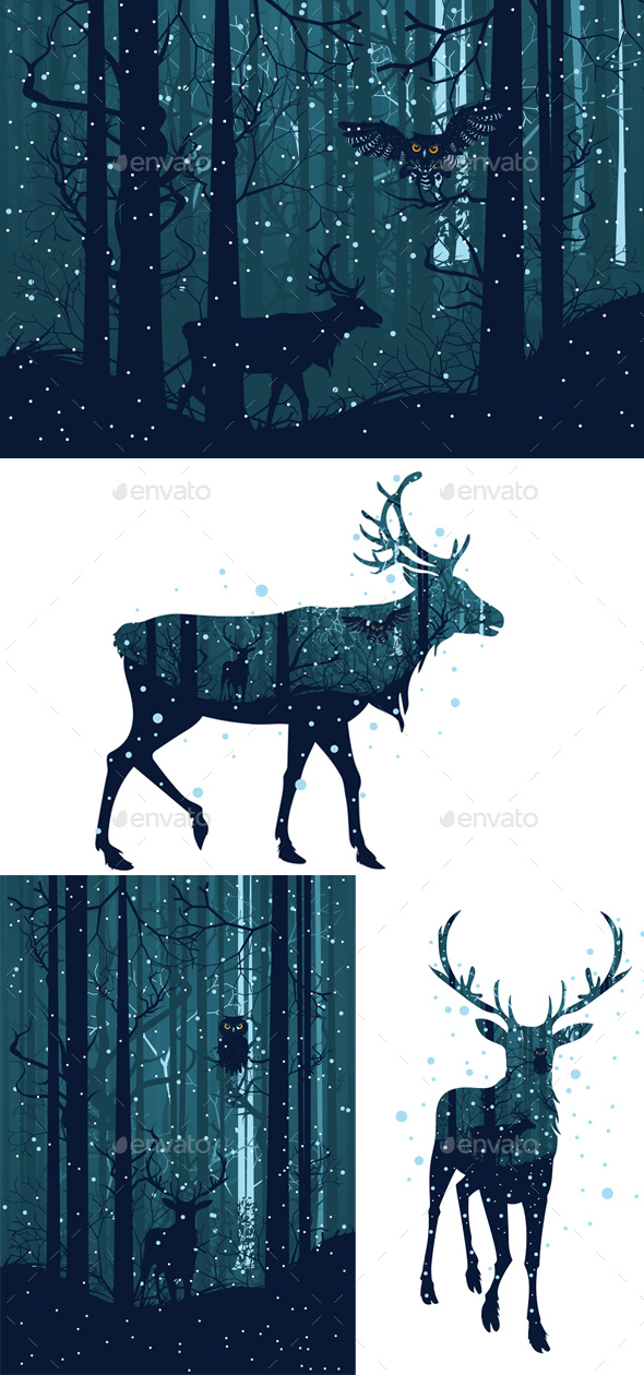 Snowy Winter Forest with Deer - Animals Characters