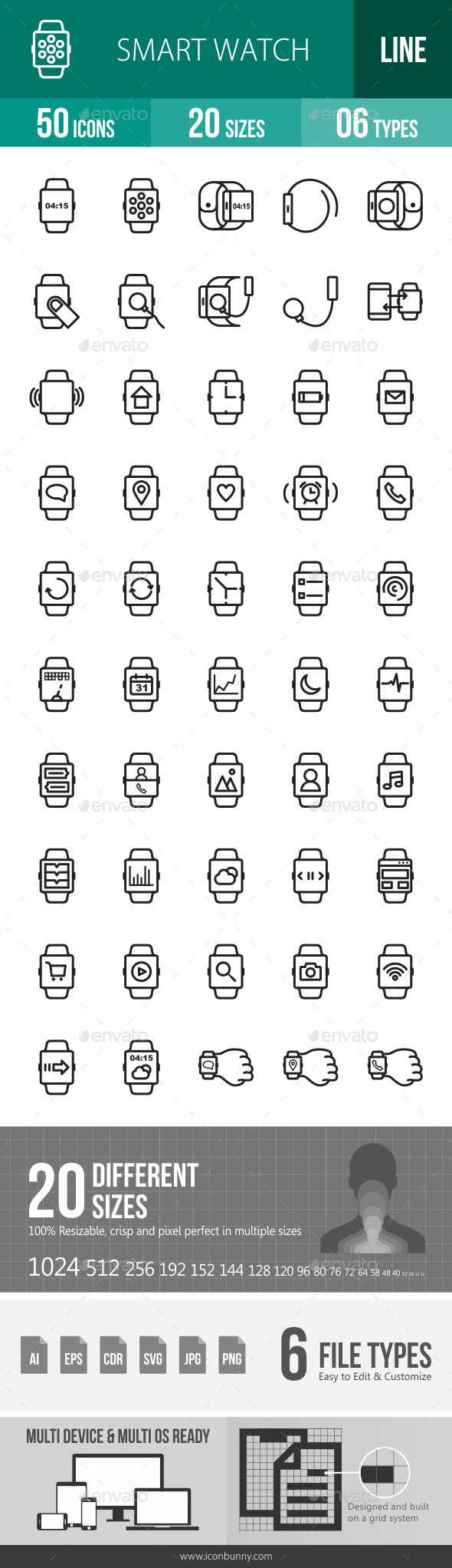 Smart Watch Line Icons - Icons