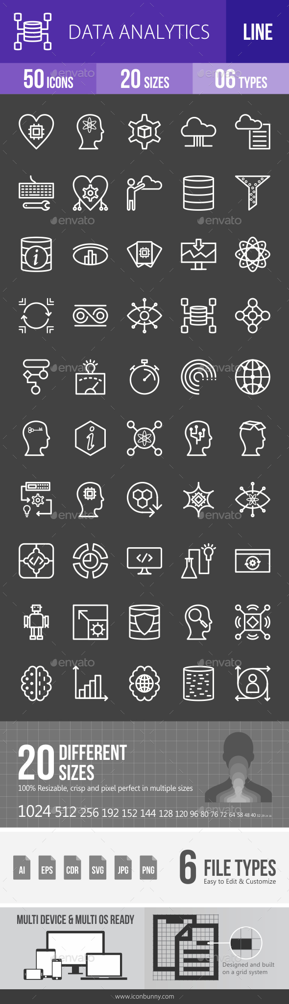 Data Analytics Line Inverted Icons - Icons