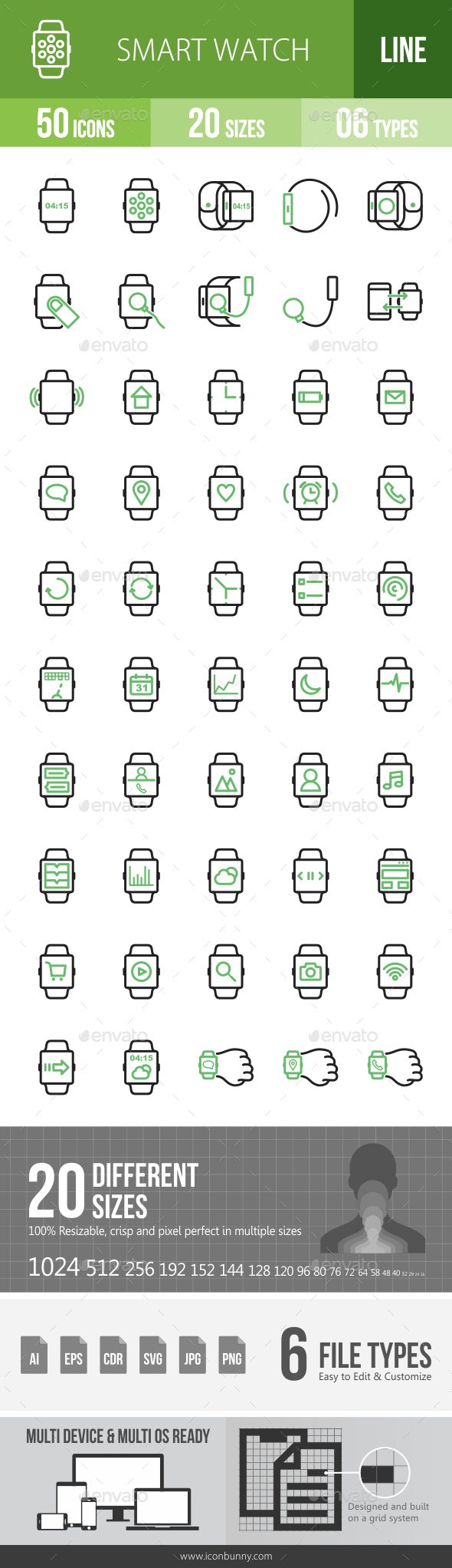 Smart Watch Line Green & Black Icons - Icons