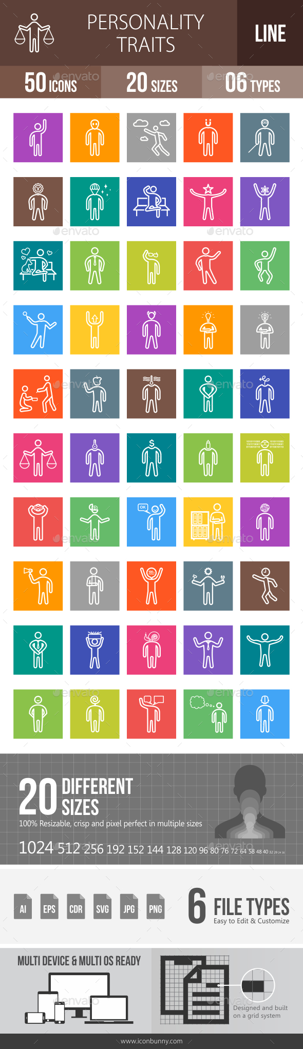 Personality Traits Line Multicolor Icons - Icons