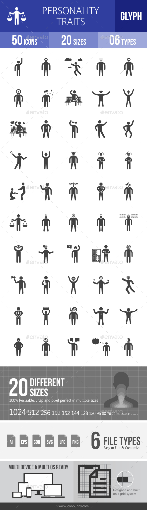 Personality Traits Glyph Icons - Icons