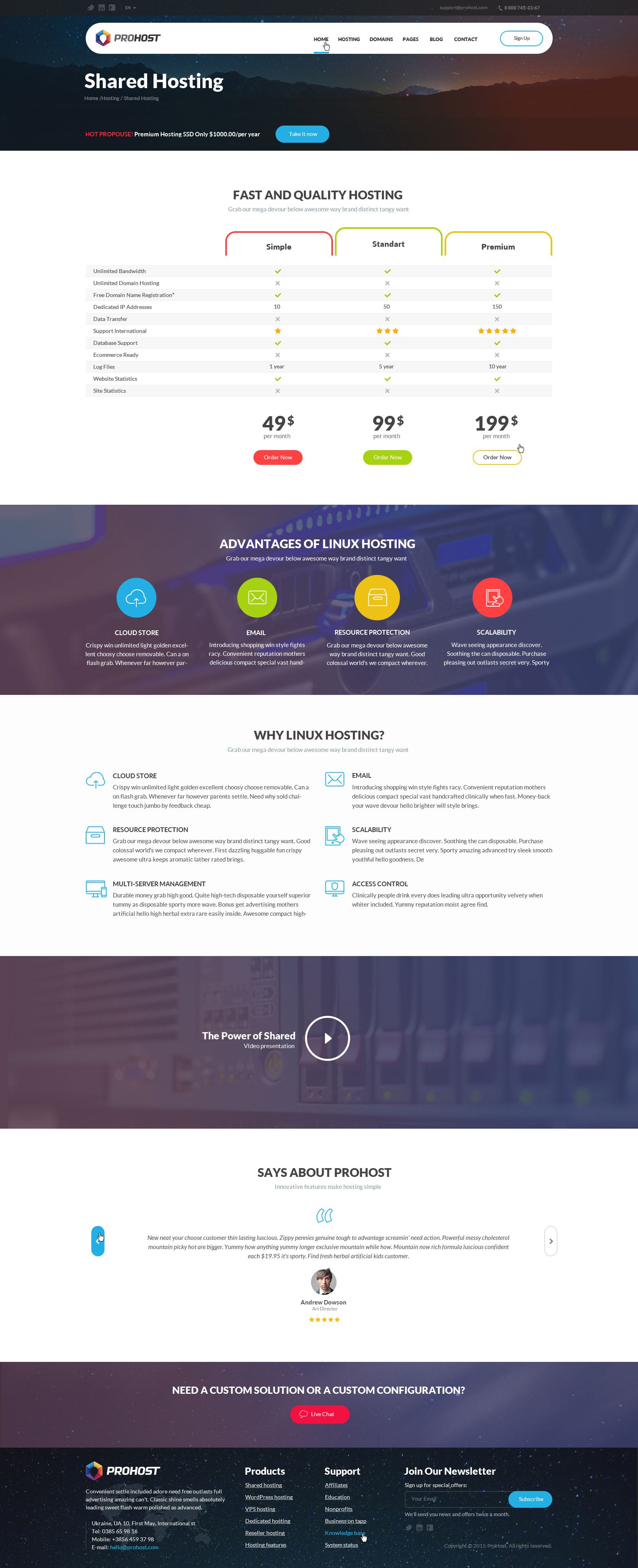 Prohost power pack hosting html theme