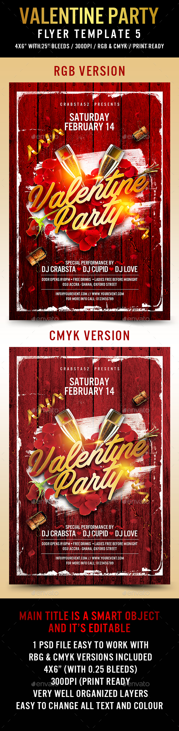 Valentine Party Flyer Template 5 - Events Flyers
