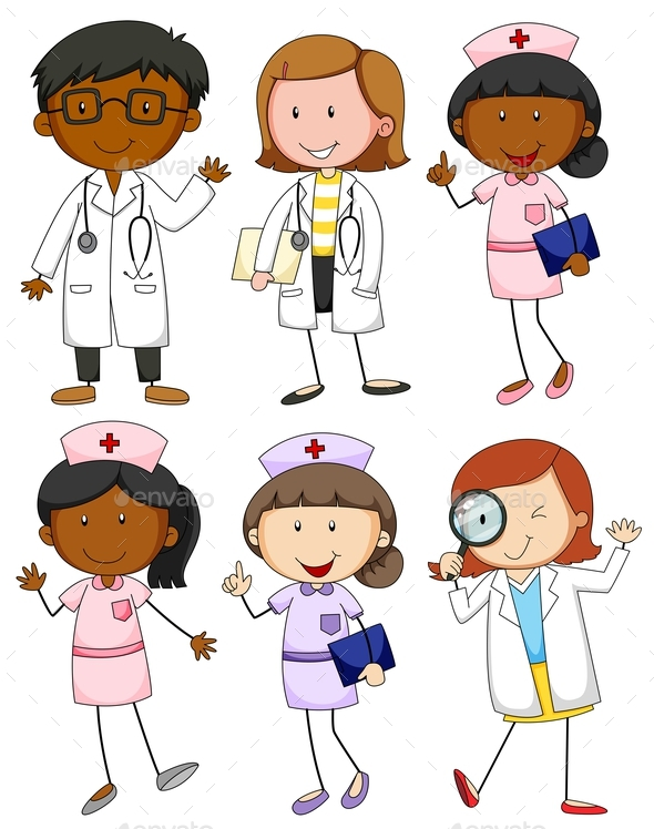 Set of Doctors and Nurses - People Characters