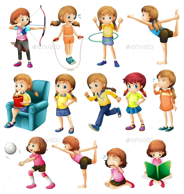 Girls Doing Different Activities - People Characters