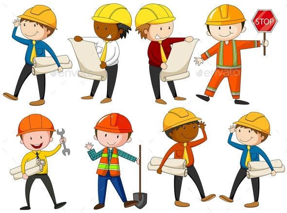 Set of Engineers and Construction Workers - People Characters