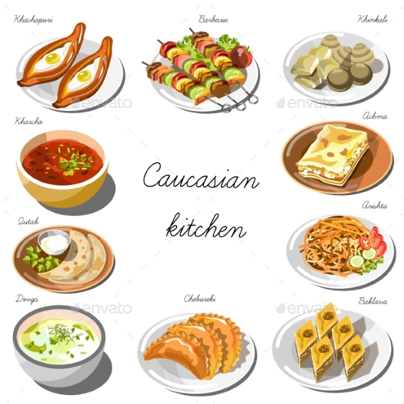Caucasian Cuisine Set. Collection of Food Dishes - Food Objects