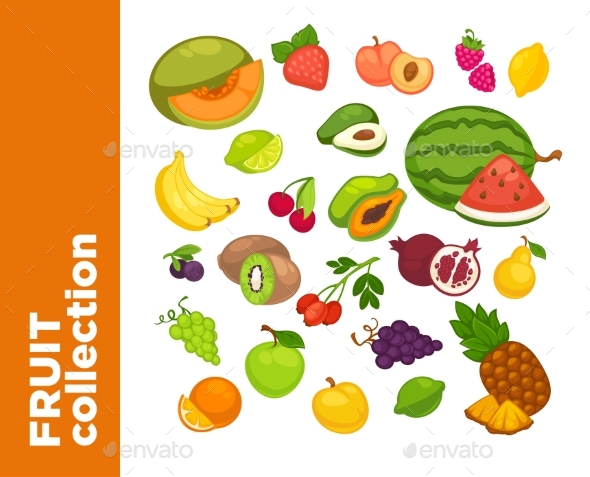 Vector Sweet Fruits Icons Set. - Food Objects