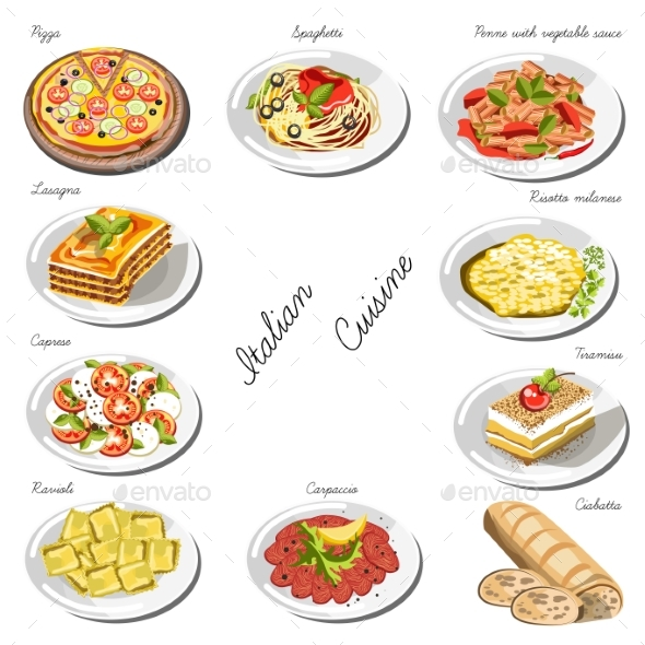 Italian Cuisine Set. Collection of Food Dishes - Food Objects