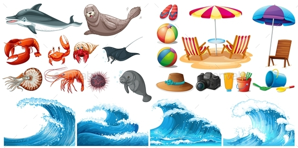Summer Theme Set with Waves and Sea Animals - Animals Characters