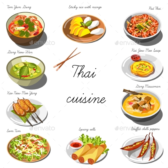 Thai Cuisine Set. Collection of Food Dishes - Food Objects
