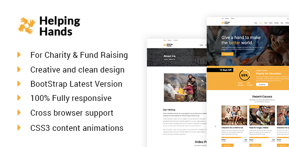Helping Hands-Charity, Donation & Nonprofit  HTML Template - Charity Nonprofit
