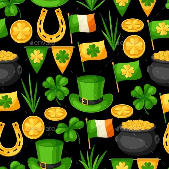 Saint Patricks Day Seamless Pattern. Flag Ireland - Seasons/Holidays Conceptual