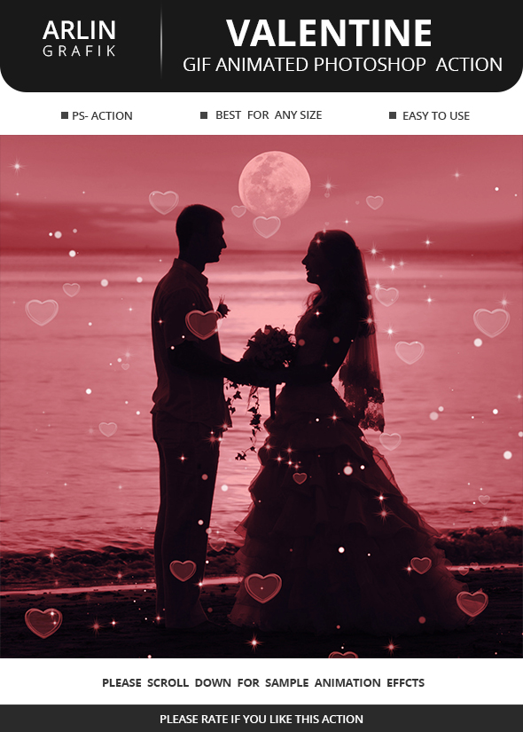 Gif Animated Valentine Photoshop Action - Photo Effects Actions