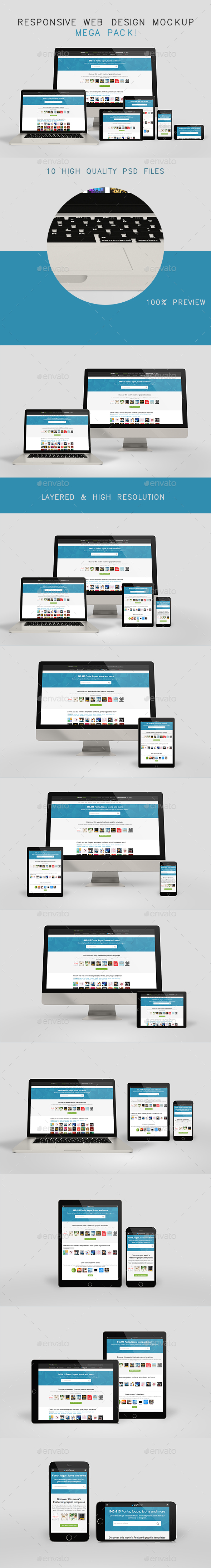 Responsive Web Design Mockup Mega Pack - Multiple Displays