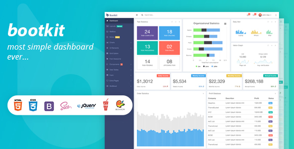 Bootkit - Responsive Admin Dashboard Web App - Admin Templates Site Templates