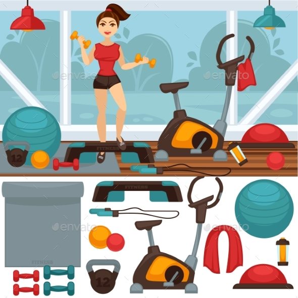 Home Fitness Equipment and Gym Interior - Sports/Activity Conceptual