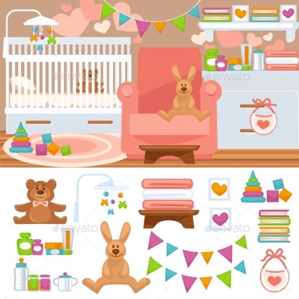 Nursery and Childhood Bedroom Interior. - Backgrounds Decorative