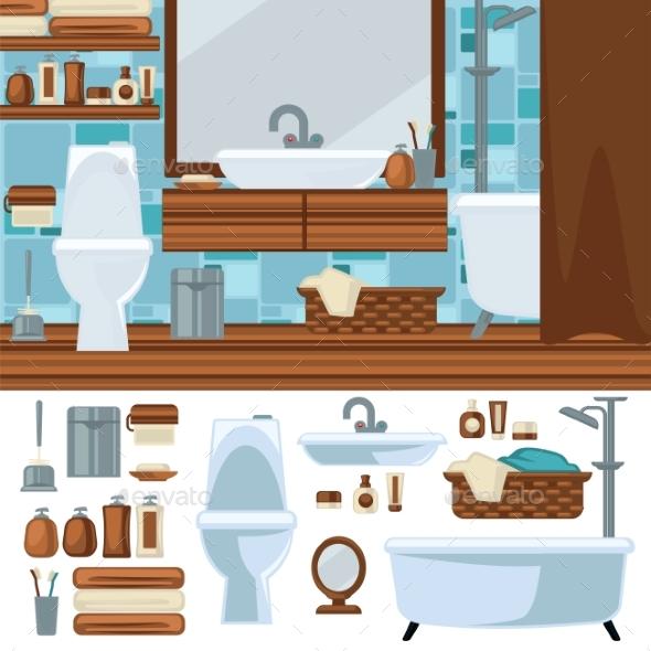 Bathroom Interior Design.  - Web Elements Vectors