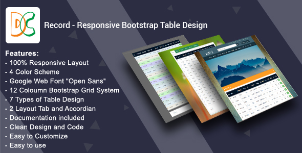 Record - Responsive Bootstrap Table Design - CodeCanyon Item for Sale