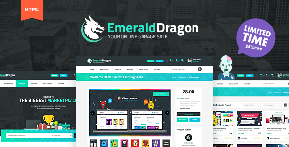 Emerald Dragon Online Marketplace HTML Multipurpose Template