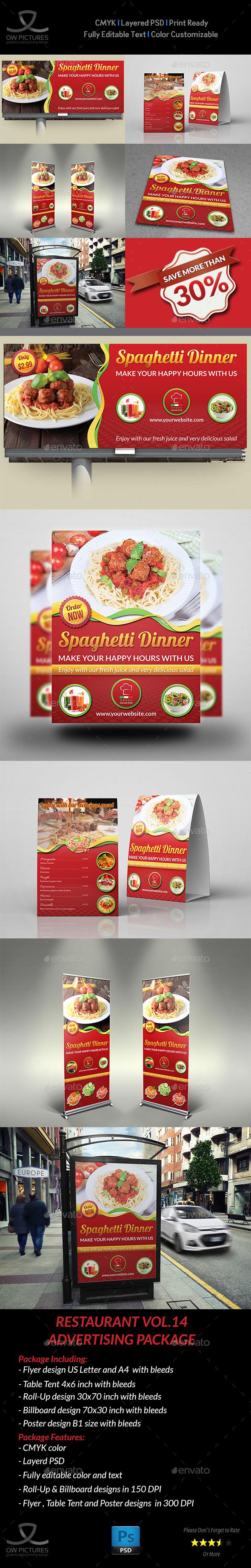 Restaurant Advertising Bundle Vol.2 - Signage Print Templates