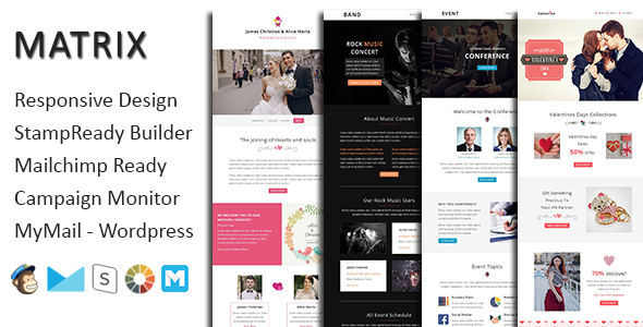 Matrix – Multipurpose Responsive Email Template + Stampready Builder