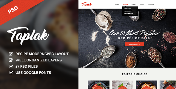 Taplak – Modern Food Recipe PSD Template