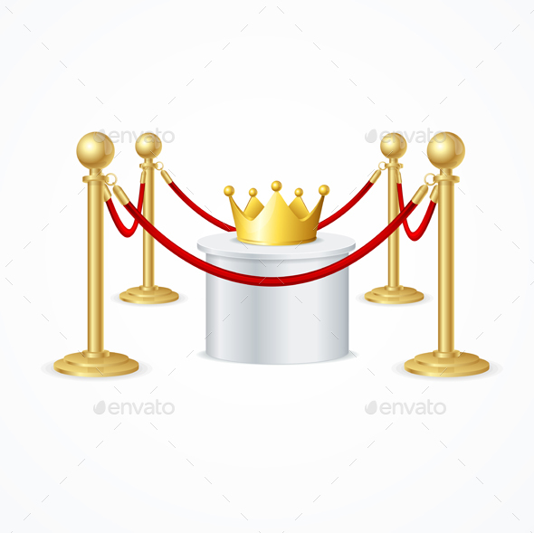 Gold Crown and Red Rope Barrier - Miscellaneous Vectors